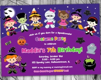 Kids HALLOWEEN Birthday Invitation, PRINTABLE Halloween Party Invitation, Costume Party Invitation, Halloween Invitation Witch Invite Girl