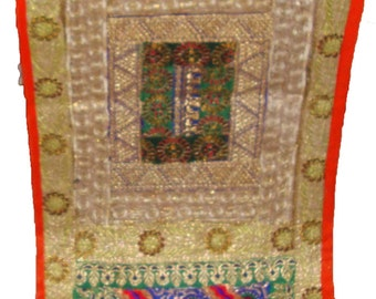 Exuisite antique sari assorted patchwork beaded embroider Indian sequin table decor runner tapestry wall hanging