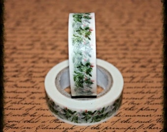 Christmas Greenery - Japanese Washi  - Paper - Masking - Tape - 10 Metres