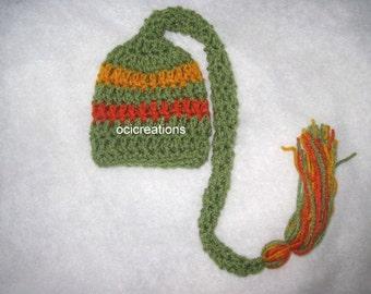Crochet Baby Pixie Elf Hat Green Orange Gold ON SALE!!