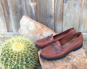 Vintage 90s Clarks of England Horsebit Genuine Cognac Brazilian Leather Loafers Flats Oxfords 7M