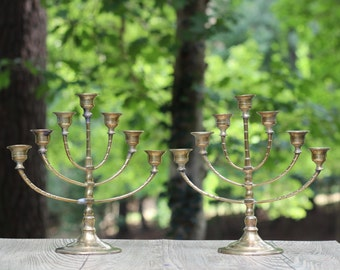 Pair of Vintage Brass Menorahs / Seven-Branch Menorahs / Pair 7-Branch Menorahs/ Judaica / Two Brass Menorahs / Jewish Gift / Hanukkah