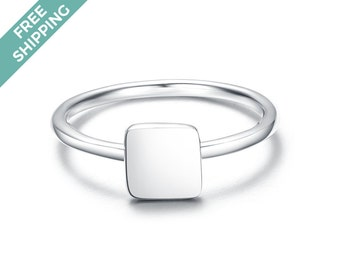 Sterling Silver Square Stack Ring