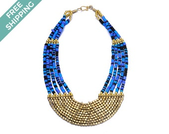 Multi Blue and Gold Beaded Costume Jewelry Necklace