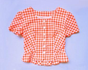 vintage 1960s orange white gingham cropped blouse