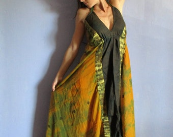 Dress long ethnic Halter, voile cotton gold