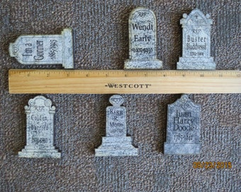 Halloween Tombstones, Halloween decorations, Halloween magnets, Gravestone, Mini Headstone magnets