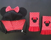 CUSTOM Minnie Hoodie and/or Reversible Strap Covers/Drool Pads/Suck Pads for Kinderpack Baby Carrier