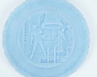 Two Fenton Pressed Blue Milk Glass Plates