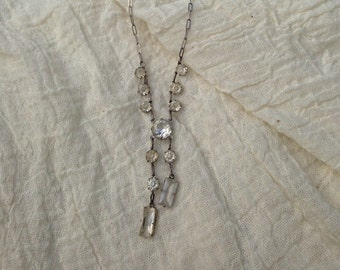 Beautiful Vintage Sterling Silver Rhinestone Necklace