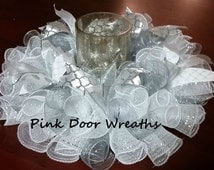 Wedding Table Centerpiece Candle Holder ANY COLOR White silver custom elegant ribbons mesh Made to Order