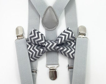 FREE DOMESTIC SHIPPING! Light gray suspenders and gray and silver metallic chevron bow tie set family photoshoot wedding formal ring beare