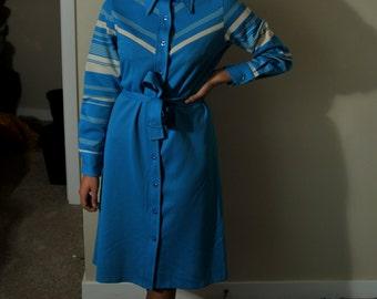70s chevron blue & white mod dress
