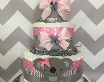 Koala Diaper Cake in Pink and Gray, Koala Baby Shower Centerpiece, Decorations