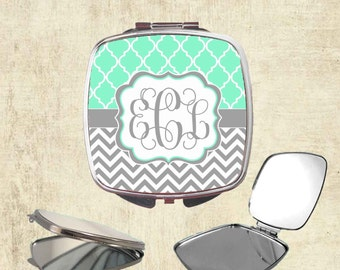 Monogram Compact Mirror - Personalized Mirror - Bridesmaid Gift - Monogram Bridesmaid Gift - Bridal Party Gifts - Personalized Pocket Mirror