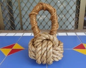 DOORSTOP NAUTICAL HANDMADE Monkey fist from manila rope can be used indoor or outdoors under cover Unique nautical decor