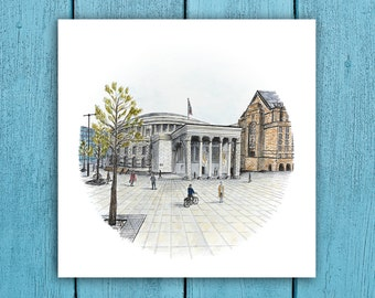 Central Library, Manchester ART PRINTS- Prints from my detailed pen drawing & watercolour painting. Manchester UK drawing.