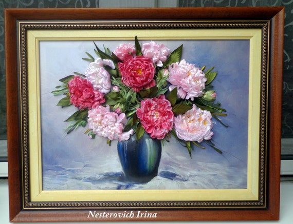 Ribbon Embroidery Flowers Picture Peonies In Vase Silk Ribbon
