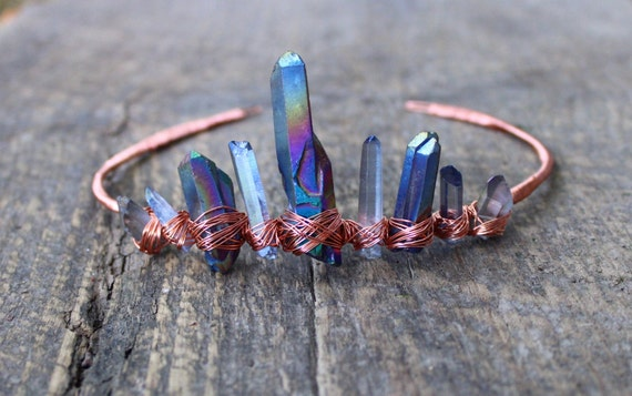 Raw crystal crown / wire wrapped tiara / titanium quartz
