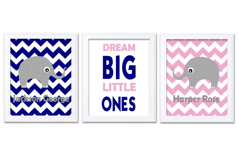 Navy Blue Pink Grey Elephant Boy Girl Twins Nursery Art Print Dream Big Little Ones Personalized Nam