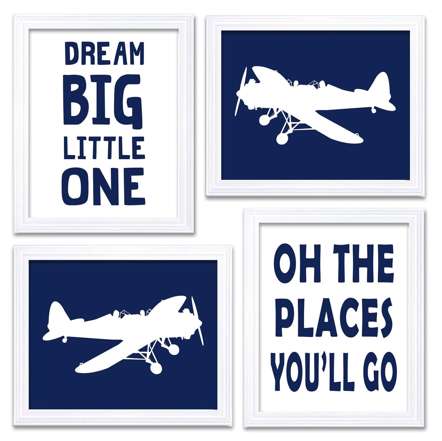 Airplane Nursery Art Deep Navy White Print Set of 4 Transportation Dream Big Little One Oh The Place