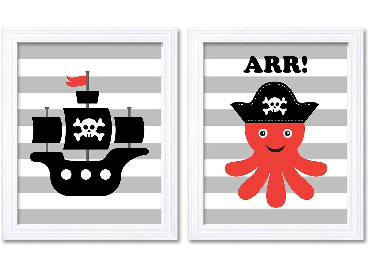 Pirate Nursery Art Set of 2 Prints Nautial Nursery Octopus Ship Red Black White Grey Boy Child Kid B