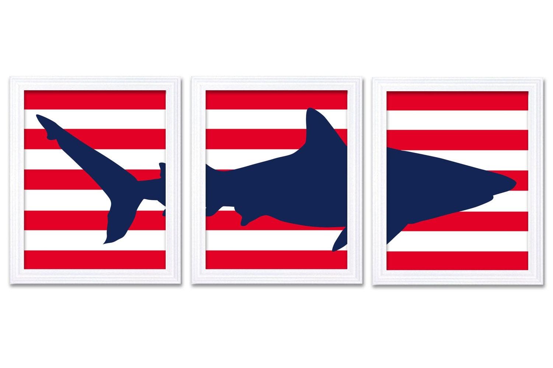 Shark Nursery Art Set of 3 Prints Navy Blue Red Sharks Stripes Boys Art Nursery Print Child Kids Roo