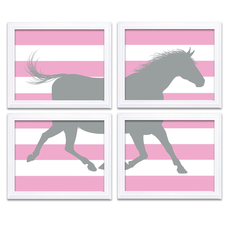 Pink Gray Grey Horse Nursery Art Set of 4 Prints Stripes Child Art Kids Room Wall Decor Baby Pony Fa
