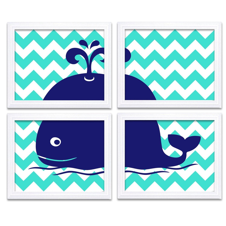 Navy Blue Turquoise Whale Nursery Art Set of 4 Prints Chevron Child Art Kids Room Wall Decor Baby Bo