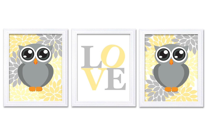 Owl Nursery Art Set of 3 Prints LOVE Yellow Grey Gray Chrysanthemum Flowers Owl Decor Baby Wall Art
