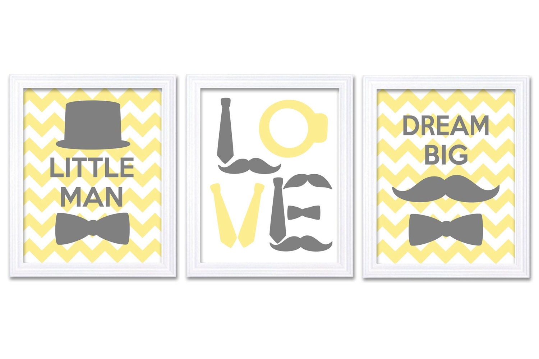 Little Man Nursery Art Set of 3 Yellow Grey Nursery Print Tophat Bowtie Tie Mustache Child Baby Art