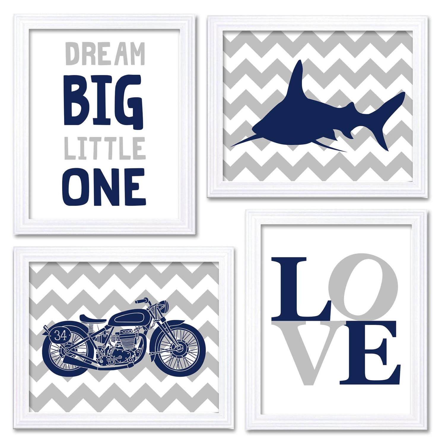 Motorcycle Nursery Art Shark Wall Art Blue Navy Grey Nursery Print Set of 4 Baby Boy Wall Decor Drea