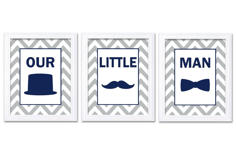Our Little Man Nursery Art Set of 3 Navy Blue Grey Nursery Print Tophat Bowtie Tie Mustache Child Ba