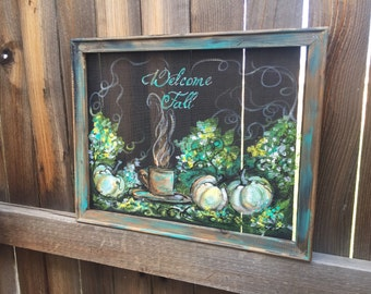 Welcome fall,White Pumpkin, teal color,cup of coffee,Welcome Fall sign,recycled