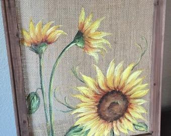 Sunflowers ,Sunflowers on Burlap, burlap,rustic sunflower original hand painting,Original ,hand painting