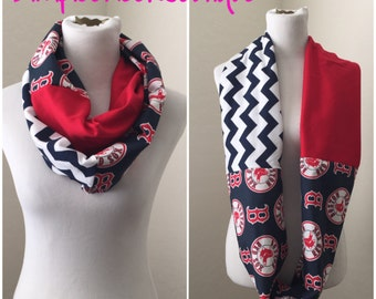 Red sox scarf- Boston, red chevron, navy