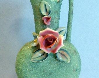 Vintage Art Plant Flower Vase Pitcher Nippon Yoko Boeki Sugar Frit Glaze Blue