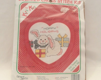 Vintage Counted Cross Stitch Kit Kits for Kids Happy Holidays Christmas New Berlin Co Vintage 1989