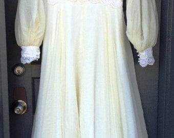 Vintage Ivory lace and chiffon wedding dress  (8-15-25)