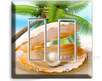 See shell with perl on a paradise palm beach  golden sand double GFI light switch cover wall plates bedroom living room art decor decoration
