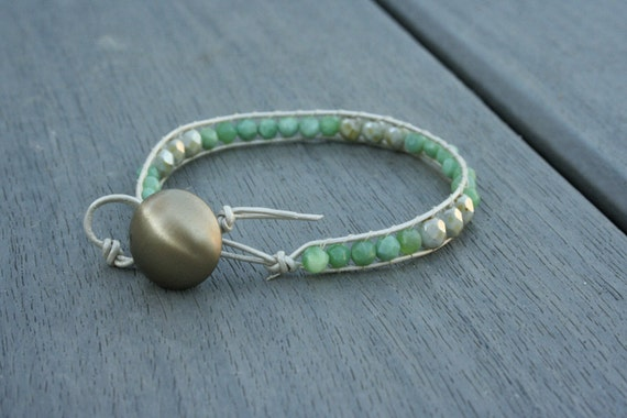 Green Opal and Czech Glass Leather Wrap Bracelet // Gifts for Her