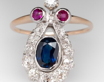 Antique Victorian Era Sapphire Ruby & Diamond Ring 14K HH591