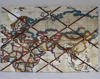 Atlas Fabric Noticeboard - 60cm x 40cm - World Map Pin Board