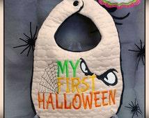 8x12 Bat Motif My first Halloween Bib & Burp Cloth Set