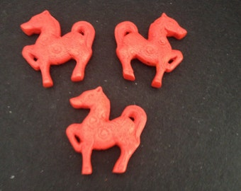 Vintage Fancy Carved Red Cinnabar Horse Pendants