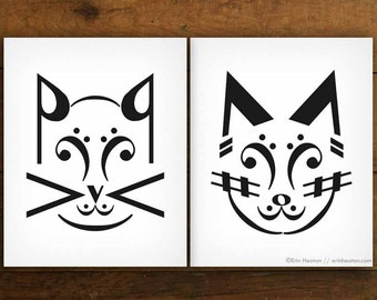 Music note art prints, CAT Art Prints - 5x7, 8x10, 11x14, Music gifts, Music art, Music room decor, Gifts for musicians, Black and white art