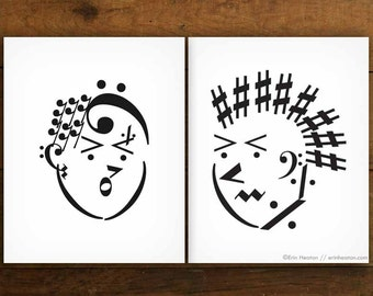 PUNK ROCK art prints, Set of 2 Music note art prints - 5x7, 8x10, 11x14, Music gifts, Music decor, Music wall art, Gift for musician