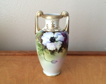Noritake Hand Painted Vase - White Poppy Flower - 1930's