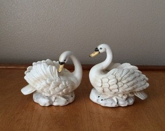 White Swan Figurines - Set of Two