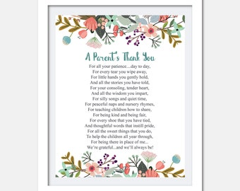 Teacher appreciation print - Printable Teacher Gift - Childcare teachers gift - Digital download - Teacher gift - A parents thank you poem